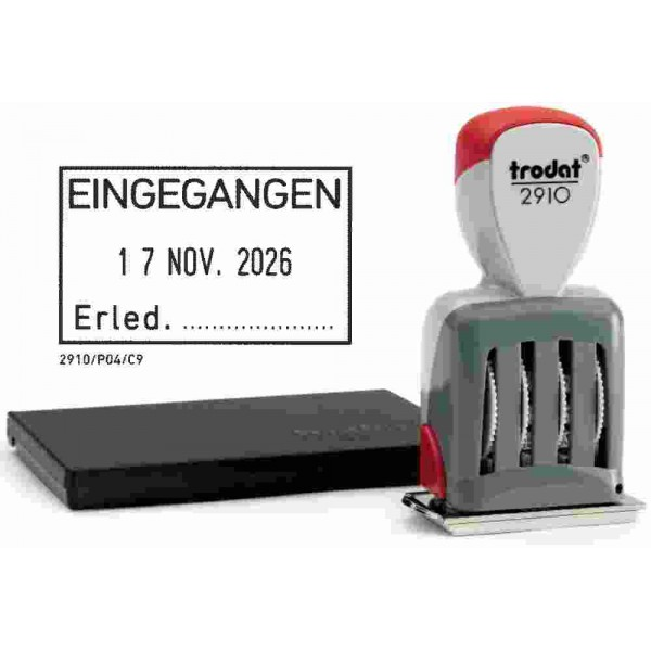 Trodat Classic Datumstempel + Text 2910/P04/EINGEGANGEN/Erl.